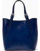 Shopper Bag Torebka Skóra Natural Granatowy casual