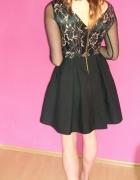 Sukienka czarno złota M