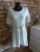 sukienka biała złoty łańcuch rozmiar L40
