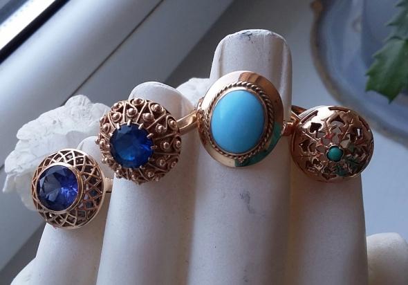 Pierścionki Stare złoto złote pierścionki szafir turkus