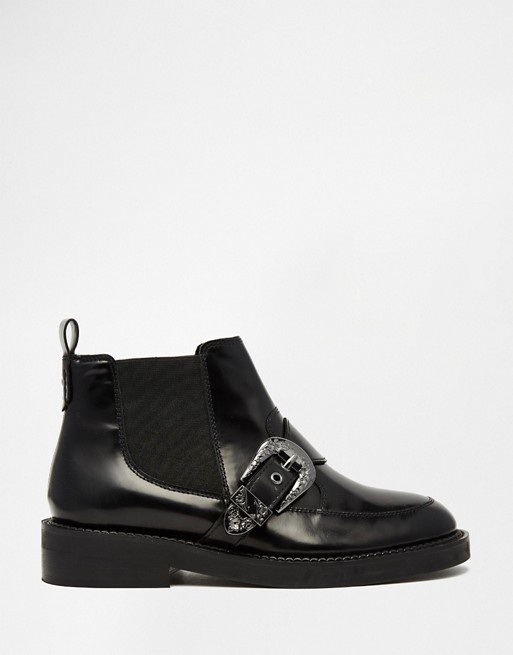 ASOS ARKANSAS Leather Western Buckle Boots botki...