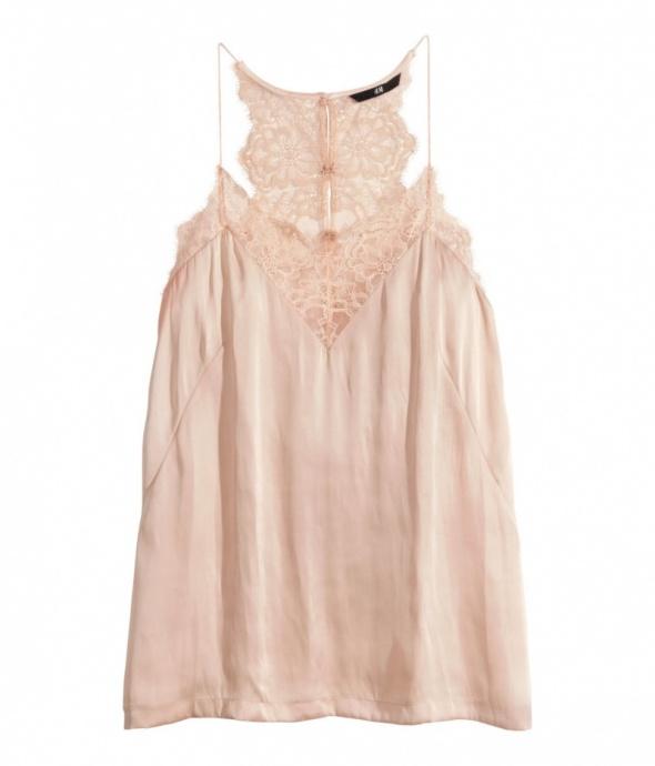 Ubrania top koronka h&m pudrowy róż 34 xs 36 s