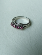 warmet stary srebrny pierścionek rubiny próby