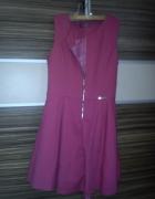 Sukienka różowa rozkloszowana zamek...