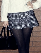 Blogerska spódnica mini pepitka falbanka Bershka