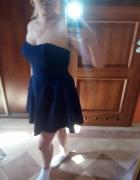 sukienka bez pleców asymetryczna granatowa 42