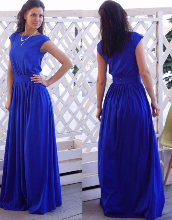 9189caa2dd Nowa sukienka długa maxi niebieska kobalt wesele M w Suknie i ...