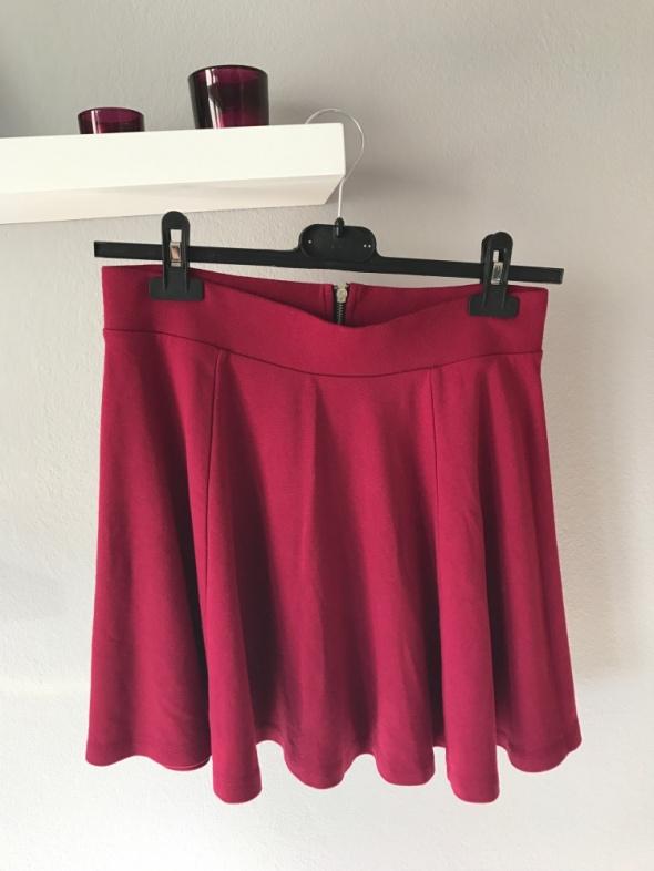 Spódnice bordowa spódnica rozkloszowana zamek h&m S