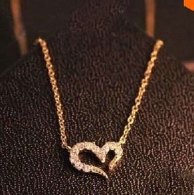 Naszyjniki Złoty łańcuszek naszyjnik serce z cyrkoniami