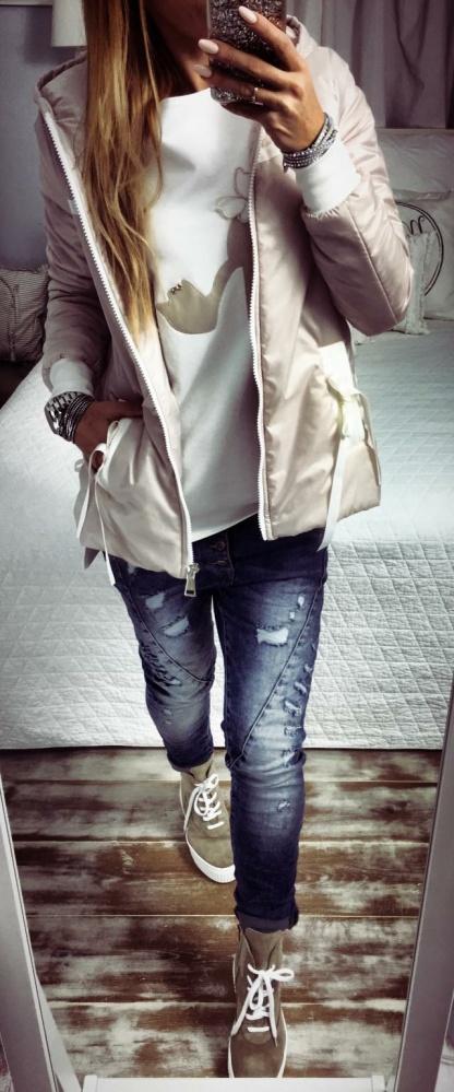 Codzienne White&Beige&Jeans
