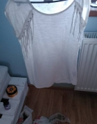 Biała bluzka z frędzlami reserved