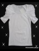 Bluzka T SHIRT Biały Rękaw Bufki L