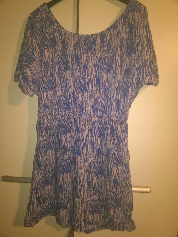 Niebiesko beżowa sukienka z gumką...