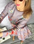 GREY wiosenna sukienka kwiaty Folk