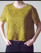 Koronkowa miodowa krótka bluzka w kwiaty H&M