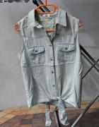 bluzka koszula jeansowa z kołnierzykiem wiązana