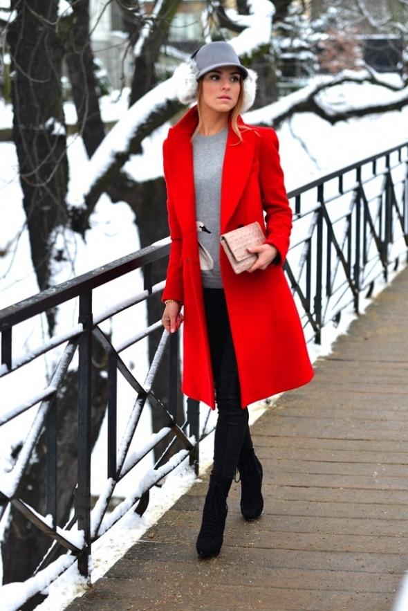 Ubrania Czerwony płaszcz ZARA