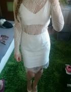 sukienka biała koronkowa