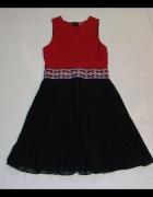 BOOHOO sukienka CZARNA CZERWONA plisy unikat 38 40