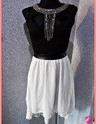 sukienka asymetryczna z ogonem bizuteryjna