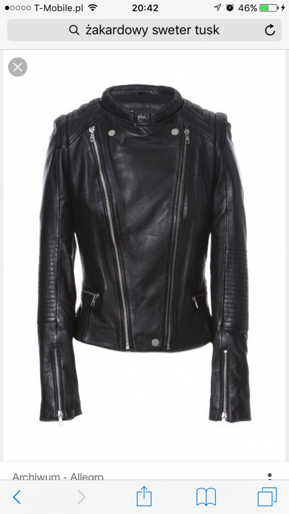 Ubrania Ramoneska zara skóra naturalna czarna 38
