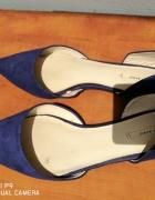 Balerinki Zara 37 w szpic wycięte kobaltowe chabrowe blaszka