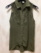 Bluzka H&M koszula koronka koronkowa 34 XS oliwkow...