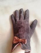 Rękawiczki Promod S skórzane skóra zamsz brązowe
