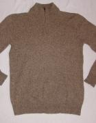 F&F brązowy sweter lambswool M L...