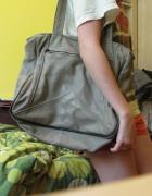 Duża torebka pakowna torba brązowa A5 A4 skóra