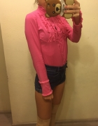 Różowa elegancka bluzka na guziki