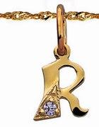 Złota litera R z cyrkonią