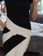 Elegancka czarno białą sukienka S