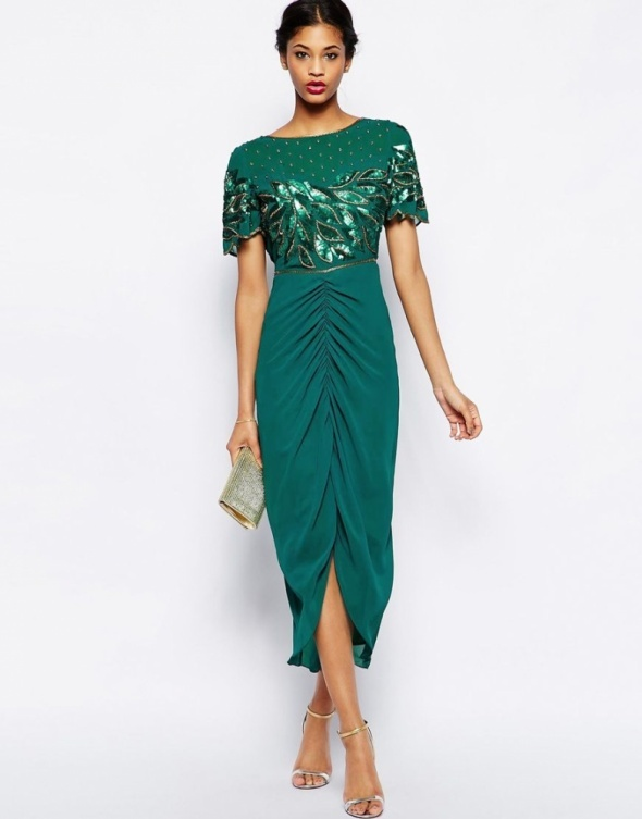 85c97f1b32 Asos virgos lounge szmaragdowa midi cekiny w Suknie i sukienki ...