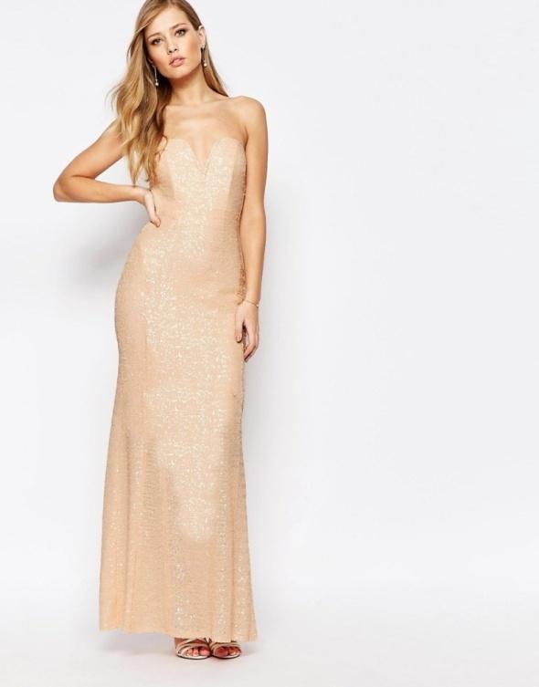 Suknie i sukienki Asos nude suknia maxi pudrowa rybka cekiny