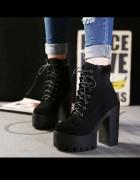 Wiązane buty za kostkę duży obcas