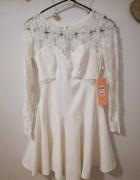 koronkowa biała rozkloszowan sukienka 34 36 XS S