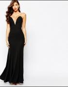 Asos maxi czarna sukienka rybka głęboki dekolt