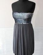 Sukienkatunika NEW LOOK grafitowa i srebrne ceki...