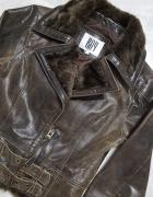 Brązowa kurtka skóra naturalna Bay XS...
