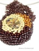 szklany wisior haft koralikowy