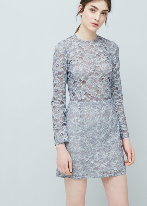 Koronkowa błekitna sukienka MANGO...