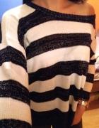 S M House złota nitka boski sweterek w pasy...