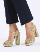 Złotebrokatowe sandały TOP SHOP