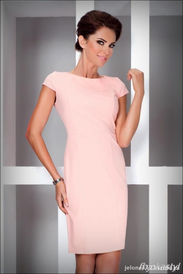 93e86d76c5 Suknie i sukienki Elegancka dopasowana brzoskwiniowa sukienka XL 42