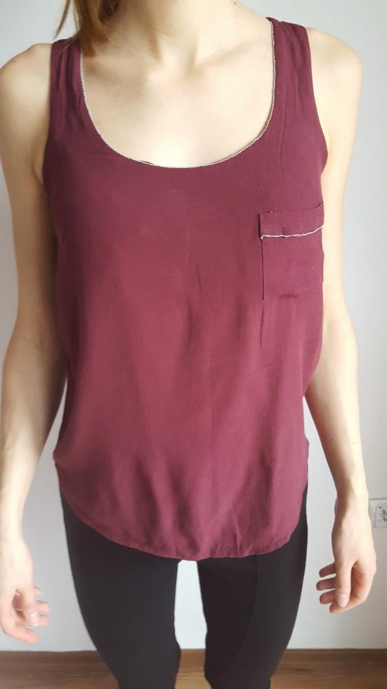 Top Bluzka top na ramiączkach bordowy z kieszonką