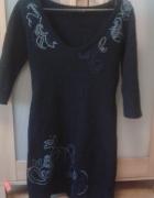 Sukienka wełniana tatuum ze wzorem