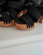 Czarne Sandałki na korkowym słupku H&M