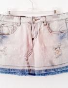 Spódnica dzins jeans dzióry przetarcia strzępie M