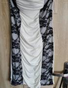 Sukienka Tally weijl biała z czarną koronką banda
